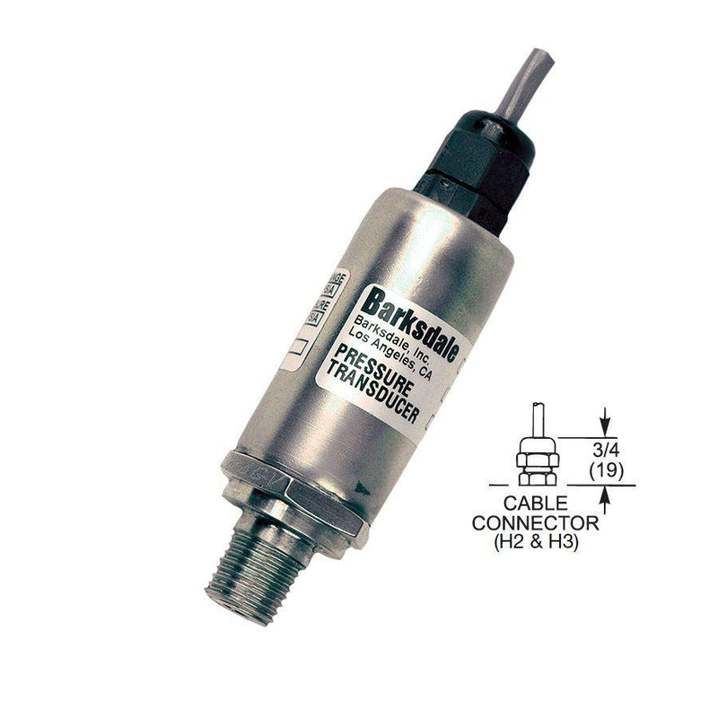 "422-H2-14 : Barksdale Industrial Transducer, Unamplified, 0 to 4000psi, 1/4"" MNPT, Unshielded Jacketed"