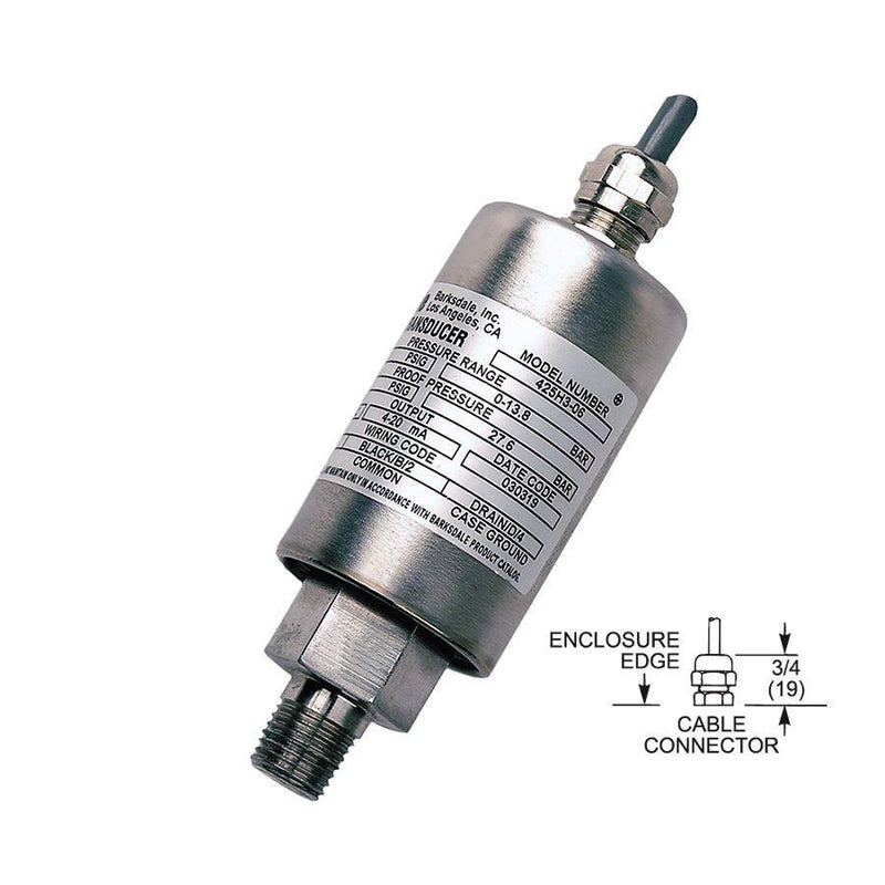 "425-H3-13-U : Barksdale Industrial Transducer, Amplified, 0 to 3000psi, 1/4"" MNPT, Shielded Jacketed"