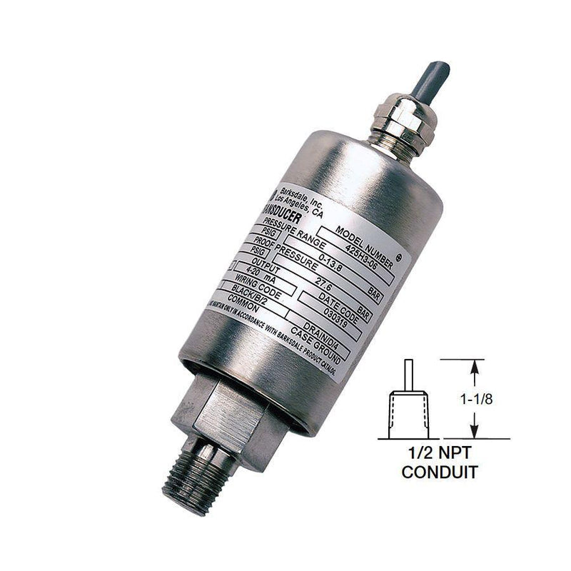 "425-H5-21-U : Barksdale Industrial Transducer, Amplified, 0 to 30psi, 1/4"" MNPT, Shielded Jacketed Cable with 1/2"" Male Conduit"