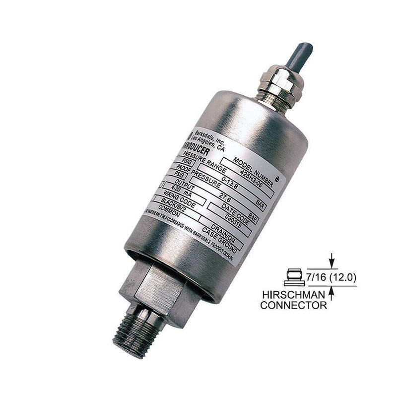 "425-T4-08-U : Barksdale Industrial Transducer, Amplified, 0 to 500psi, 1/4"" MNPT, M12 Hirschman"