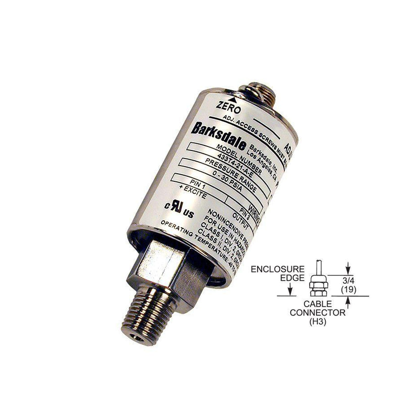 "435-H3-01 : Barksdale Non-Incendive Transducer, 0 to 15psi, 1/4"" MNPT, Shielded Jacketed"