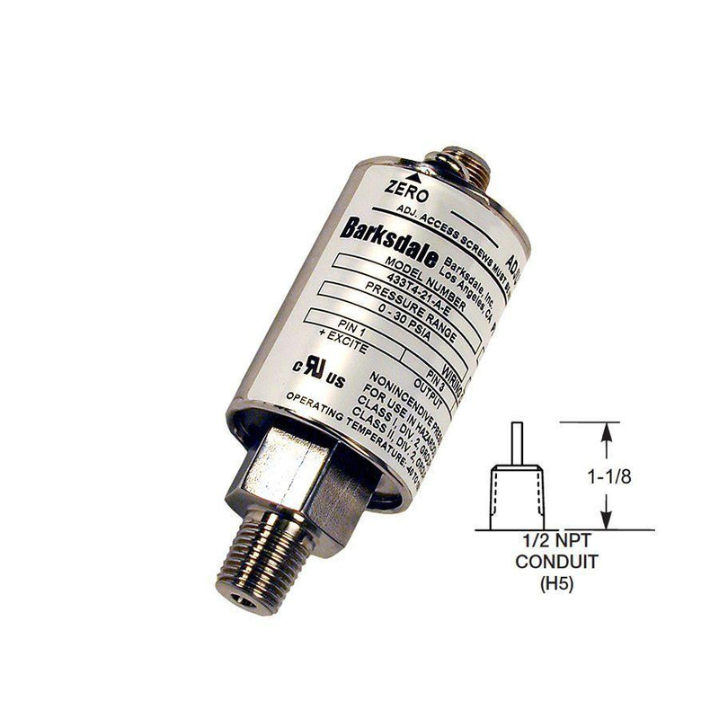 "435-H5-04-P4 : Barksdale Non-Incendive Transducer, 0 to 100psi, 1/2"" MNPT, Shielded Jacketed Cable with 1/2"" Male Conduit"