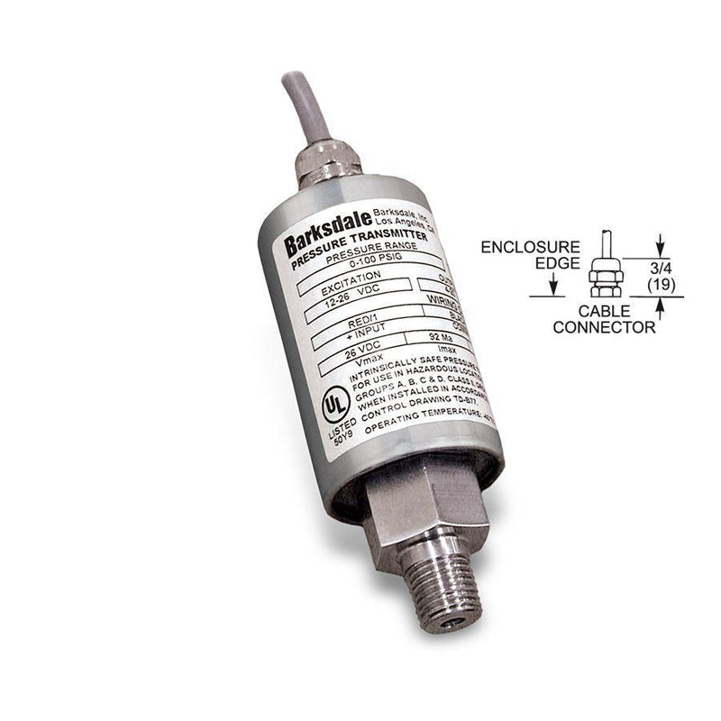 "445-H3-17 : Barksdale Intrinsically Safe Transducer, 0 to 7500psi, 1/4"" MNPT, 4-20mA, Shielded Jacketed"