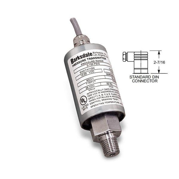 "445-T5-10-P1 : Barksdale Intrinsically Safe Transducer, 0 to 1000psi, #4 SAE (1/4"") Female, 4-20mA, DIN, ATEX, IECEx"
