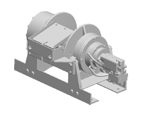 "45AAT1L9E : DP Winch, 45,000lb Bare Drum Pull, 35.5"" Base with Air Cable Hold Down, No Kickout, CCW, Less than 25GPM Motor, 24VDC, 7.5"" Barrel x 11.06"" Length x 17.5"" Flange"