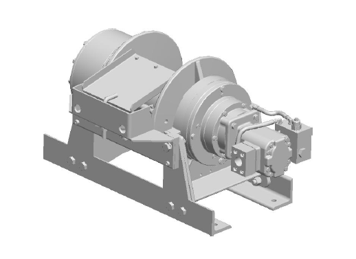 "45AAT4L1E : DP Winch, 45,000lb Bare Drum Pull, 35.5"" Base with Air Cable Hold Down, Air/Hyd Kickout, CCW, More than 25GPM Motor, 24VDC, 7.5"" Barrel x 11.06"" Length x 17.5"" Flange"