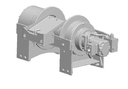 "50CBT4L1B : DP Winch, 50,000lb Bare Drum Pull, Wrecker Type Custom Mount with Air Cable Hold Down, Air/Hyd Kickout, CCW, More than 25GPM Motor, 7.5"" Barrel x 14.00"" Length x 16.5"" Flange"