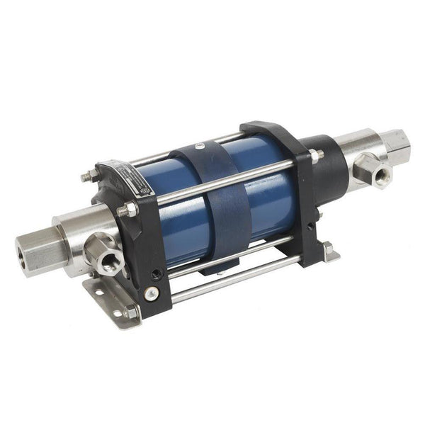 "5L-SD-90 : HII Air-Driven Liquid Pump, 5-3/4"" Single Acting, Double Air Drive, 13500psi, 1.24in3 (20.32cc), 1/2"" NPT Inlet, 1/2"" NPT Outlet"