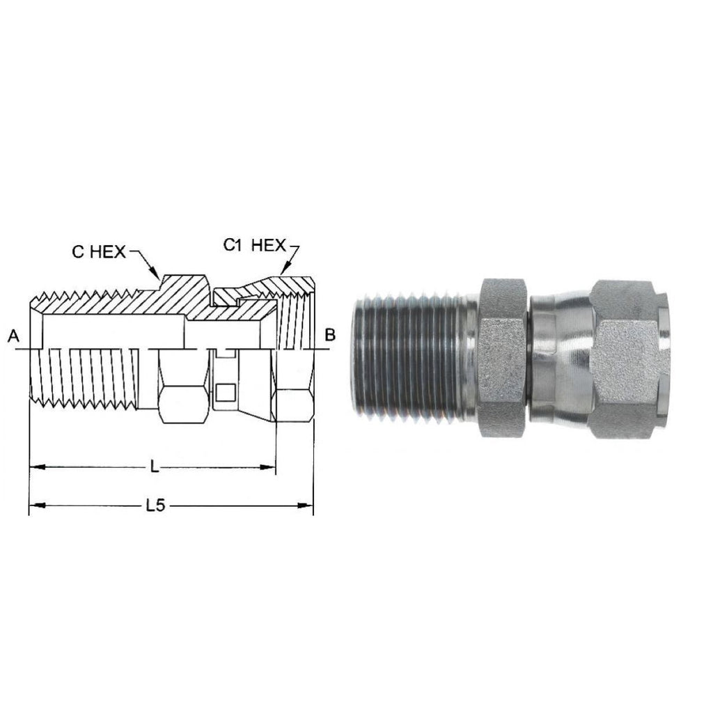 5 Units Stainless Steel Straight Adapter Brennan 1//2 in Male JIC 37/° Flare x 1//2 in Male JIC 37/° Flare
