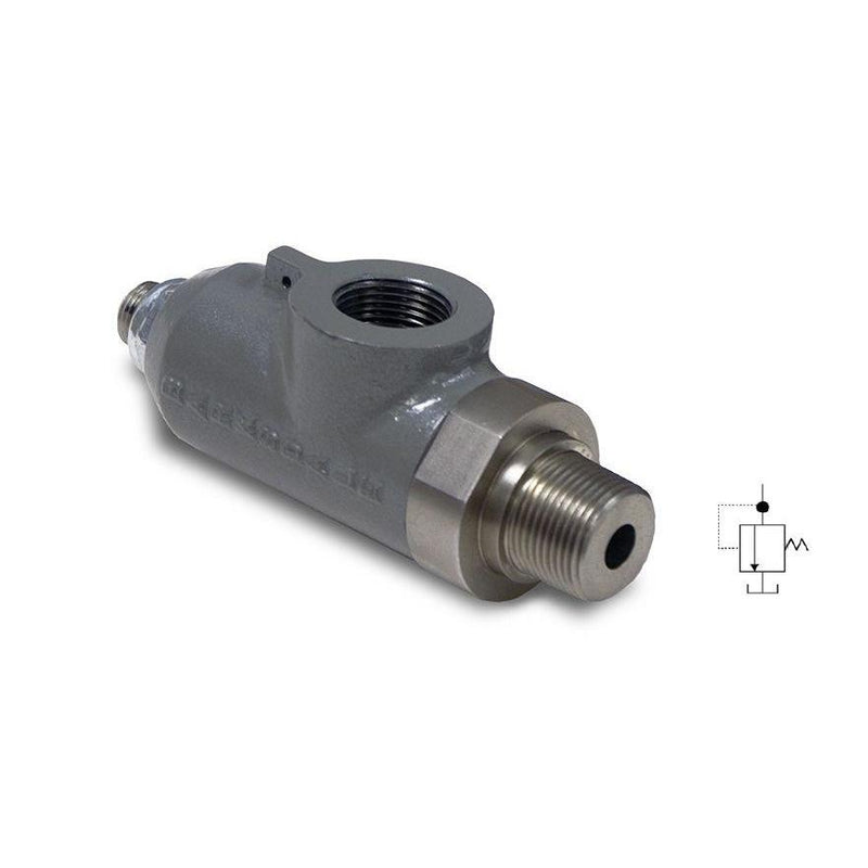 8014-3 : Barksdale Pressure Relief Valve, 15GPM, 5500psi Rated, Inline Style, 3/4 NPT, Allen Key Screw, No Tamper-Proof Cap