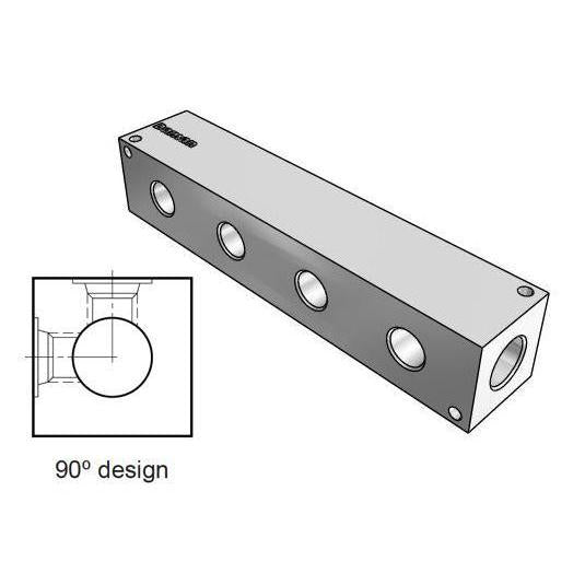 AH0900408P : Daman Header Manifold, Aluminum, 3000psi, 90 Degree, Four Station, 1/2 NPT Ports