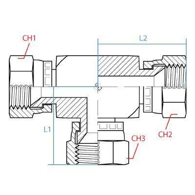 "9555-16-16-16 : ADAPTALL TEE ADAPTER, SIDE 1: FEMALE 1"" JIC; SIDE 2: FEMALE 1"" JIC; SIDE 3: FEMALE 1"" JIC, CARBON STEEL"