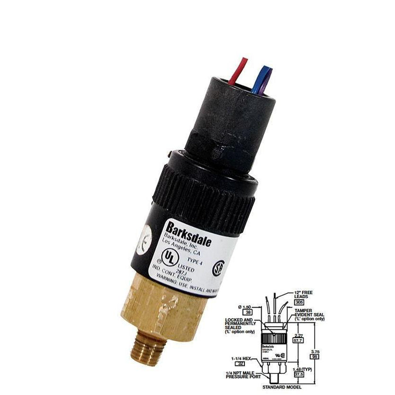 "96201-BB1-SS : Barksdale Pressure Switch, Piston, 190psi Min Dec, 450psi Max Dec, 250psi Min Inc, 600psi Max Inc, SS, 1/4""NPT, 12"" Free Leads"