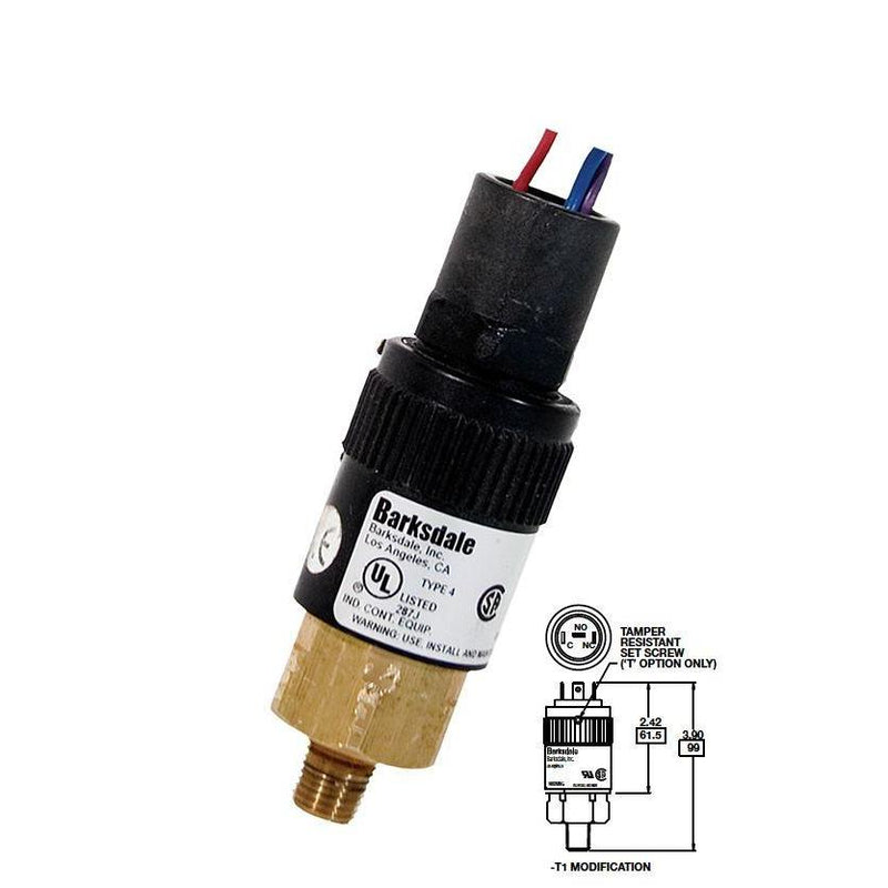 "96201-BB1-T1 : Barksdale Pressure Switch, Piston, 190psi Min Dec, 450psi Max Dec, 250psi Min Inc, 600psi Max Inc, Brass, 1/4""NPT, 1/4"" Male Spade Terminals"