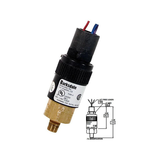 "96221-BB1-T4 : Barksdale Pressure Switch, Vacuum, 1"" Hg Min Dec, 28"" Hg Max Dec, 6"" Hg Min Inc, 30"" Hg Max Inc, Brass, 1/4""NPT, 1/2"" NPT Male Conduit, Free Leads"