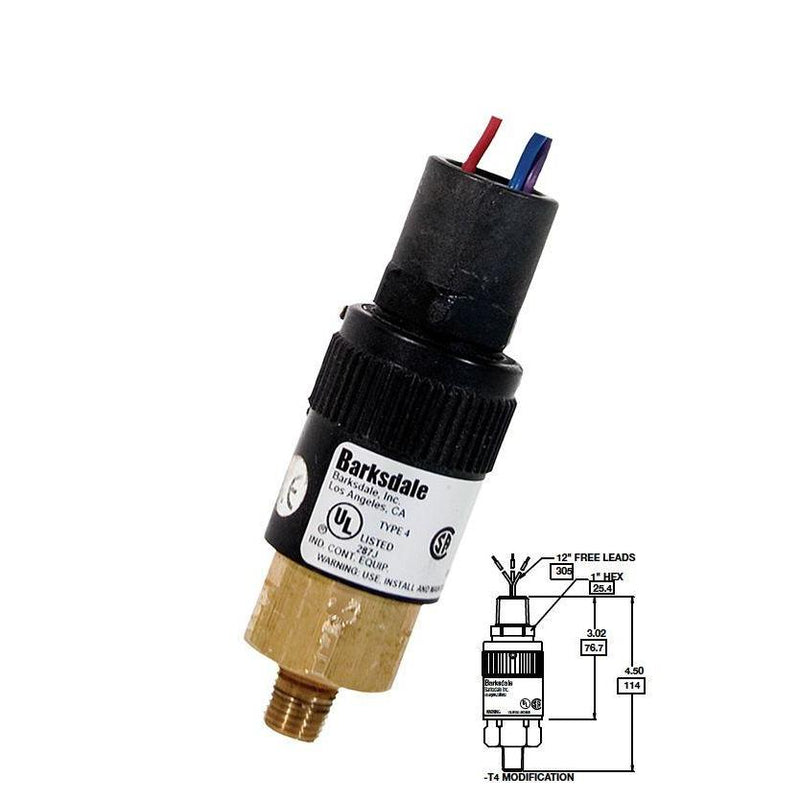 "96201-BB4-T4 : Barksdale Pressure Switch, Piston, 3650psi Min Dec, 6700psi Max Dec, 4000psi Min Inc, 7500psi Max Inc, Brass, 1/4""NPT, 1/2"" NPT Male Conduit, Free Leads"