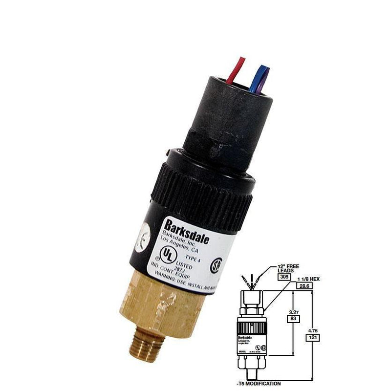 "96201-BB1-T5 : Barksdale Pressure Switch, Piston, 190psi Min Dec, 450psi Max Dec, 250psi Min Inc, 600psi Max Inc, Brass, 1/4""NPT, 1/2"" NPT Female Conduit, Free Leads"