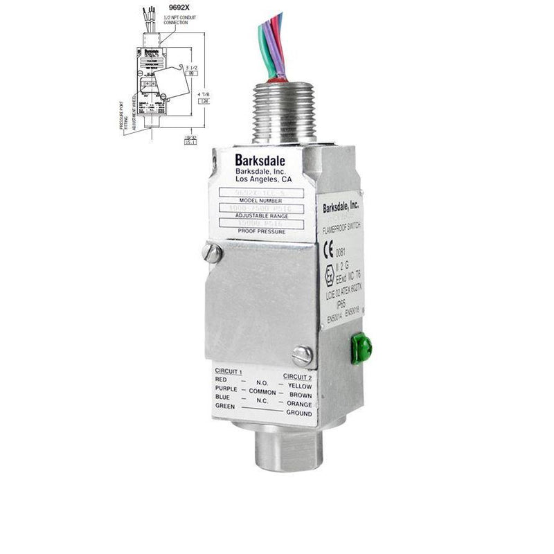 "9692X-1CC-1-P4 : Barksdale EX Pressure Switch, 11 Amps at 125/250 VAC, 5 Amps at 30 VDC, SPDT, 100psi Min Dec, 600psi Max Dec, 150psi Min Inc, 750psi Max Inc, 15,000psi Proof, 1/2"" MNPT, ATEX, IECEx, UL, CSA"