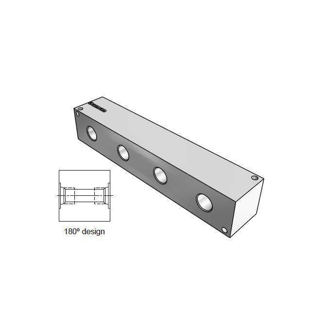AJ1800406P : Daman Junction Manifold, 180 Degree, Aluminum, Four Station, 3/8 NPT Ports
