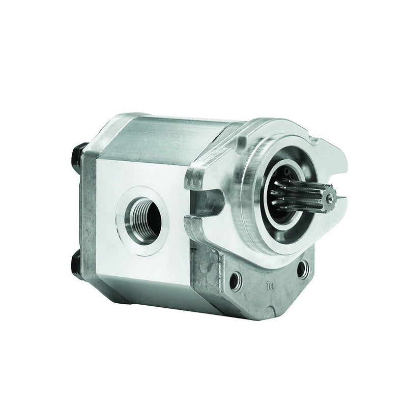 "ALP1A-S-4-S1 : Marzocchi Gear Pump, CCW, 2.8cc (0.1708in3), 1.33 GPM, 3625psi, 5000 RPM, #8 SAE (1/2"") In, #6 SAE (3/8"") Out, Splined Shaft 9T 20/40DP, SAE AA 2-Bolt Mount"