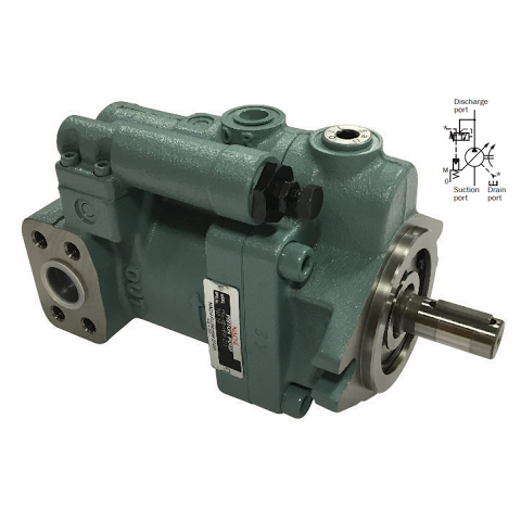 "PVS-2A-35N2-12 : Nachi Variable Piston Pump, 35cc, 16.6GPM, 2000RPM, 3625psi, Mounting Foot, 7/8"" Bore x 1/4"" Key Shaft, Pressure Comp, 429-2000psi Range, Side Ported"