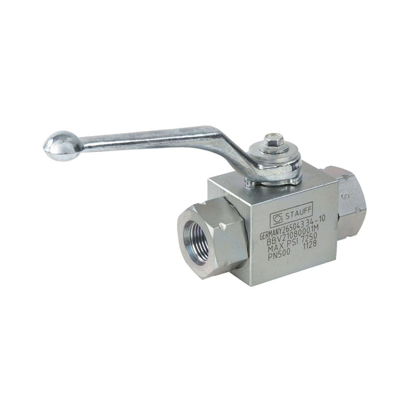 BBV-2-U08-8001-M : Stauff High Pressure Block Body Ball Valve, #8 SAE (1/2), Carbon Steel Body, 7250psi, Two-Way (Legacy p/n BBV