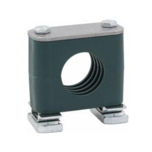 "CRA-533.7-PP-DP-AS-U-W5 : Stauff Clamp, Unistrut Mount, 1.327"" (33.7mm) OD, for 1"" Pipe, Green PP Insert, Profiled Interior, 316SS"
