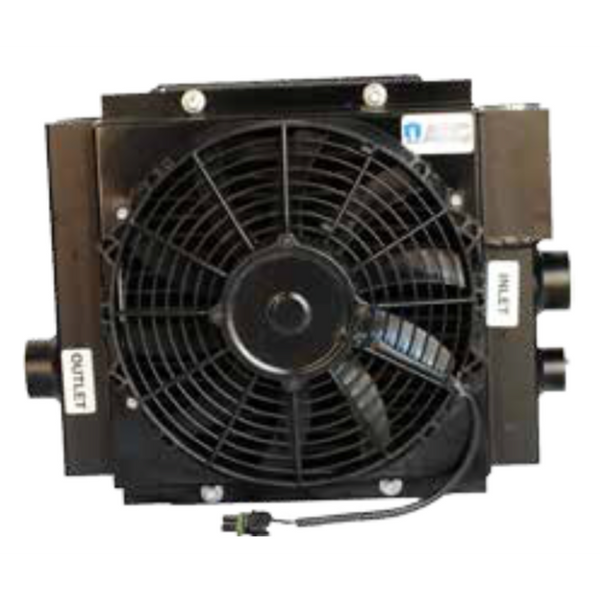 "DCS60-12-BP65 : AKG CooL-Line DCS Series Cooler, 12V, 2-Fan, #20 SAE (1.25""), 65psi Bypass"