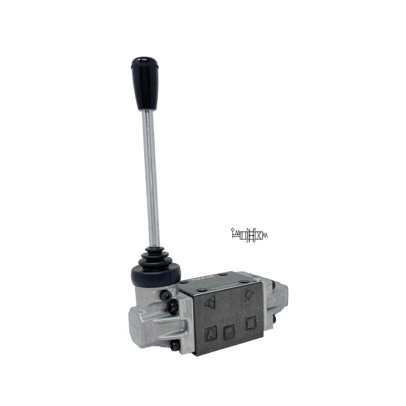 DMA-G01-C4-E20 : Nachi Manual Lever Valve, 4-Way, D03 (NG6), 10.5GPM, 5075psi, All Ports Open Neutral, Spring Centered