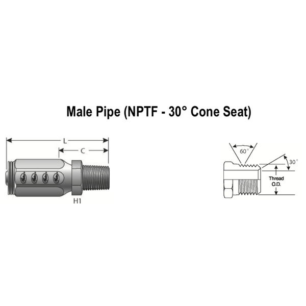 "6C2AT-6RMP : Gates Coupling, Field Attachable Type T for G2 Hose (2 Wire), Male Pipe (NPTF, 30 Cone Seat), -6 (3/8"") Dash Size, 0.375 (3/8"") ID, 3/8-18 Threads"