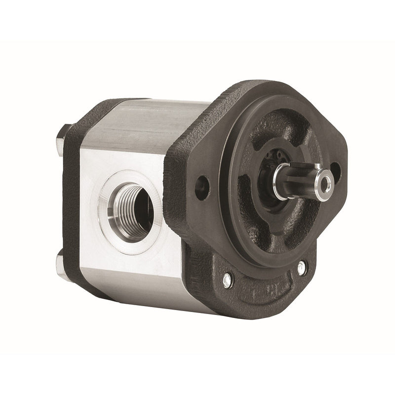 "GHP1A-D-3 : Marzocchi Gear Pump, CW, 2.1cc (0.1281in3), 1 GPM, 3915psi, 6000 RPM, #8 SAE (1/2"") In, #6 SAE (3/8"") Out, Keyed Shaft 1/2"" Bore x 1/8"" Key, SAE AA 2-Bolt Mount"
