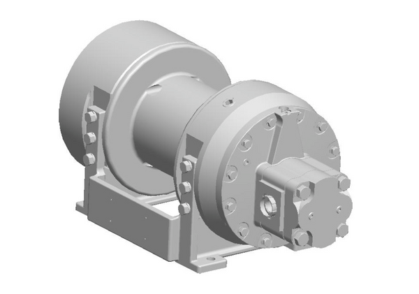 "H8-3-30-1 : Pullmaster Planetary Hydraulic Winch, Rapid Reverse, 8,500lb Bare Drum Pull, Auto Brake, CW, 37GPM Motor, 7.0"" Barrel x 8.0"" Length x 11.5"" Flange"