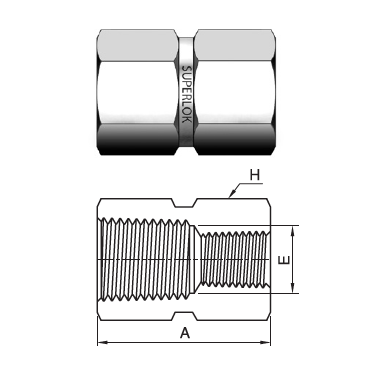 "IHRC-4-2N : Superlok 1/4"" Female NPT X 1/8"" Female NPT Reducing Coupling"