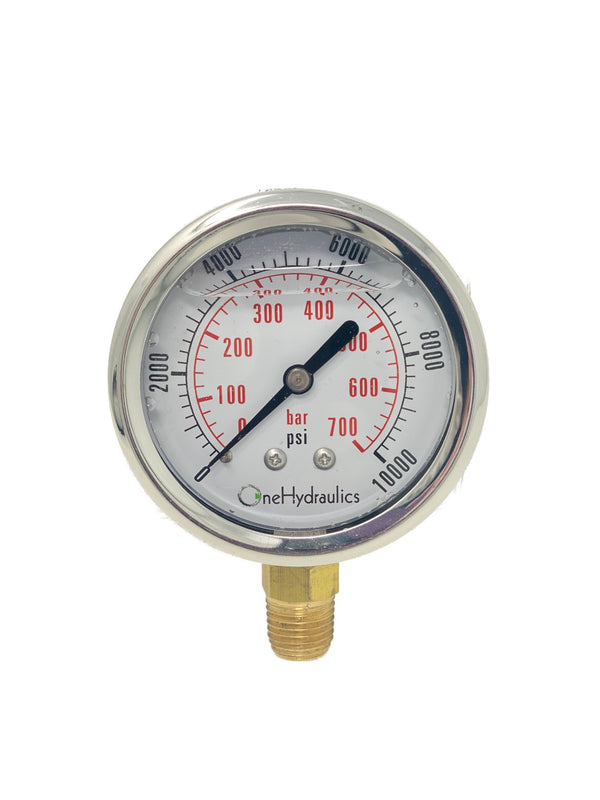OHI-G-2.5-10K-S : OneHydraulics 2.5 Face Pressure Gauge, 0-10,000psi Pressure Range, 1/4 NPT, Stem Mounted Style