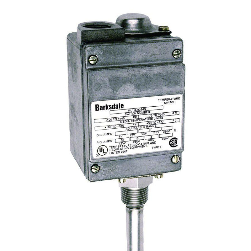 L2H-H351-W : Barksdale Temp Switch, Not Hermetically Sealed, SPDT Local Mount, Dual Setpoint, No Capillary, UL, CSA