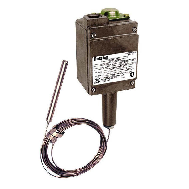 MT1H-H601-12 : Barksdale Temp Switch, Not Hermetically Sealed, SPDT Remote Bulb & Capillary, Single Setpoint, 12-Foot Capillary, UL, CSA