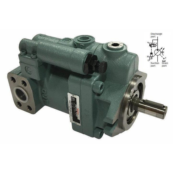 "PVS-1A-22N2-12 : Nachi Variable Piston Pump, 16.5cc, 7.8GPM, 2000RPM, 3625psi, Mounting Foot, 3/4"" Bore x 3/16"" Key Shaft, Pressure Comp, 429-2000psi Range, Side Ported"