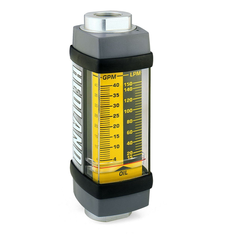 H801A-050RF : Hedland 3500psi Aluminum Flow Meter for Petroleum Fluid, 1.25 NPT, 5 to 50 GPM