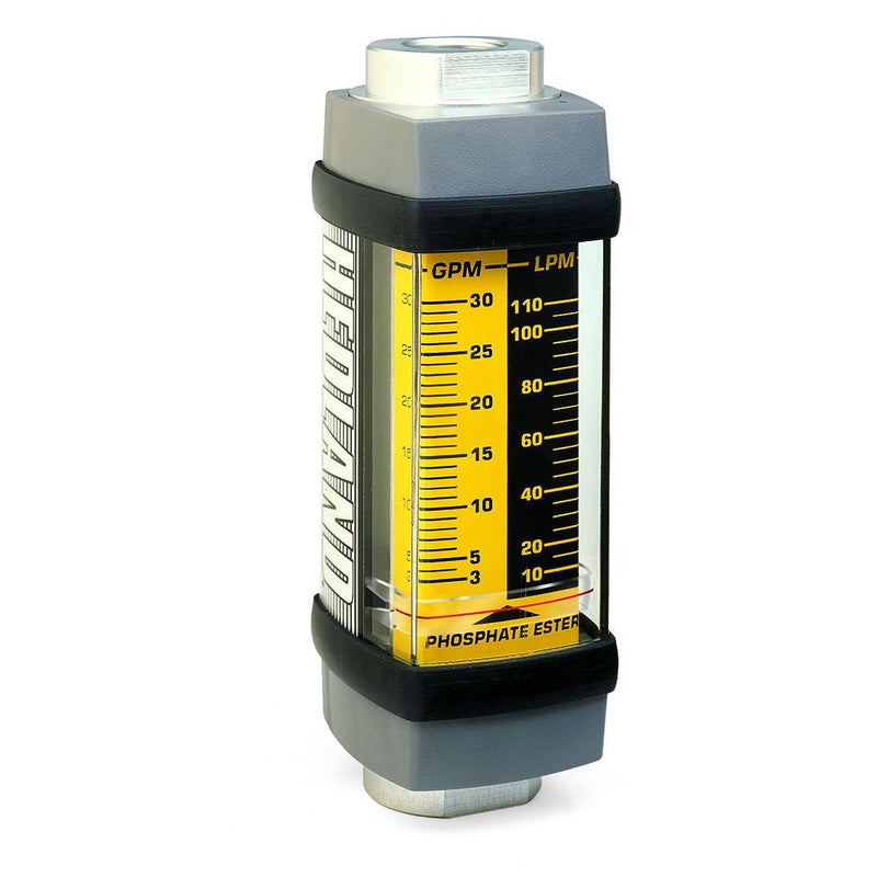 H895A-075 : Hedland 3500psi Aluminum Flow Meter for Phosphate Ester Fluid, 1.25 NPT, 10 to 75 GPM