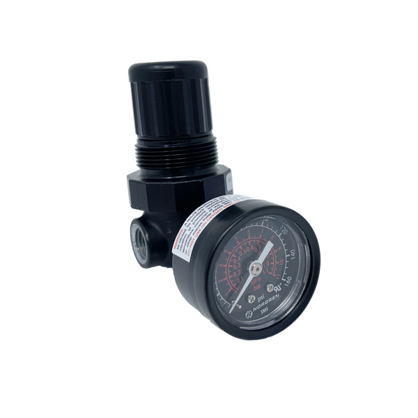 "R07-100-RGKA : Norgren R07 Series Mini regulator, 1/8"" NPT, Relieving, with Gauge, 5 to 100psi Range"