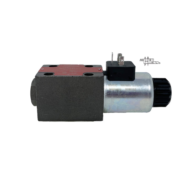 RPE3-062H11/01200E1 : Argo Hytos Directional Control Valve, D03 (NG6), 21GPM, 5100psi, 2P4W, 12 VDC, DIN, Spring Return, All Ports Open in Neutral, Coil Side B