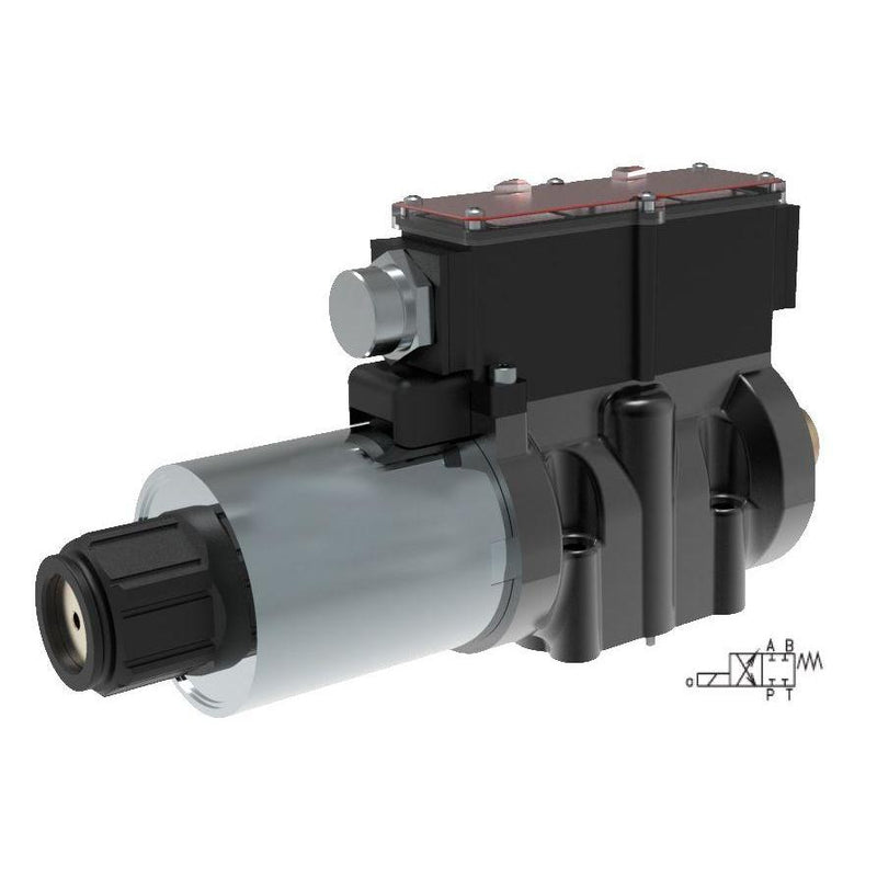 RPEW4-102Z51/12060EW1R51 : Argo DCV, D03, 21GPM, 5100psi, 2P4W, 24 VDC, Wiring Box, Spring Return, PA and BT Neutral