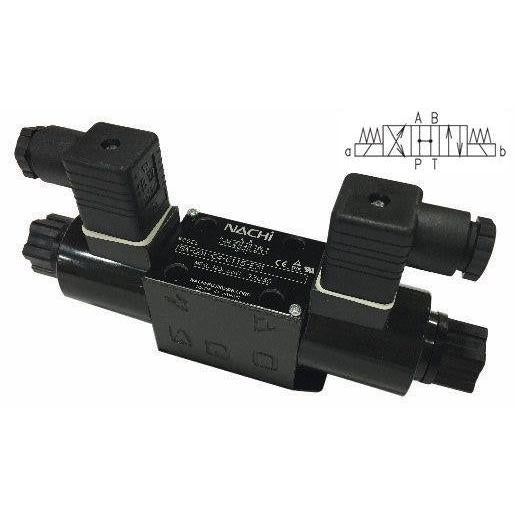 SA-G03-C4-D2-E21 : Nachi Solenoid Valve, 3P4W, D05 (NG10), 34.3GPM, 5075psi, All Ports Open Neutral, 24 VDC, DIN