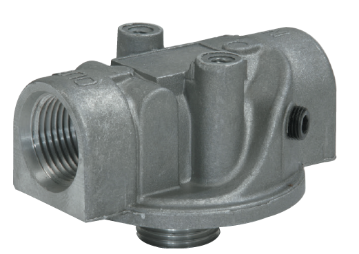 "SSFT-20-1 : Stauff SSFT Spin-On Filter Head, 53 GPM, 100psi, 1.5"" NPT, With Bypass, Clogging indicator port drilled for return"