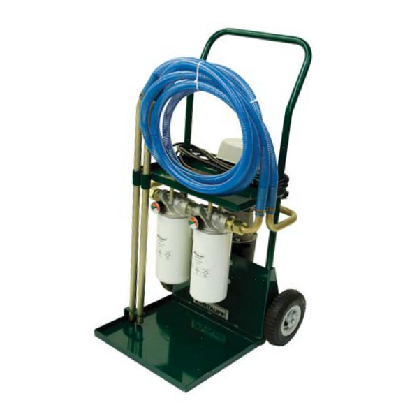 SCFC-20-G-2S-6707-6704-B-V-C : Stauff Filter Cart, 20GPM, two Single Heads, Stage 1 Synthetic 6 Micron, Stage 2 Synthetic 3 Micron, 115 VAC 60Hz motor, 10ft hoses, No Particle Monitor