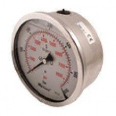 "SPG-100-00100-05-P-N08-U : Stauff Pressure Gauge, 4"" Face, 0-100psi, 1/2"" NPT, Panel Clamp with U-Bolt"