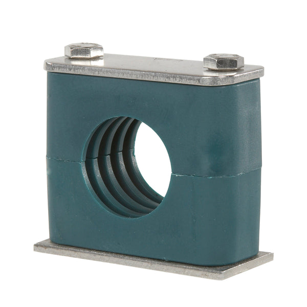 "SP-888.9-PP-DP-AS-U-W10 : Stauff Clamp, Single Weld Plate, 3.5"" (88.9mm) OD, for 3"" Pipe, Green PP Insert, Profiled Interior, Carbon Steel"