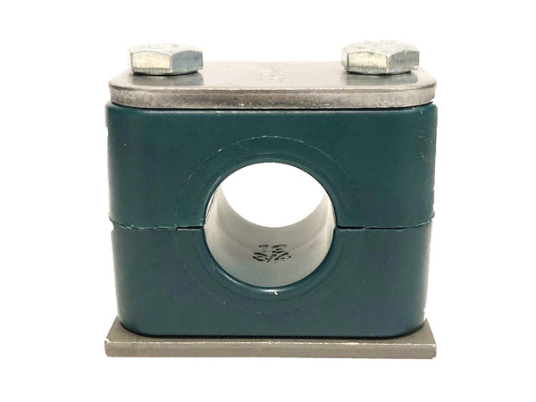 "SP-888.9-PP-H-DP-AS-U-W10 : Stauff Clamp, Single Weld Plate, 3.5"" (88.9mm) OD, for 3"" Pipe, Green PP Insert, Smooth Interior, Carbon Steel"