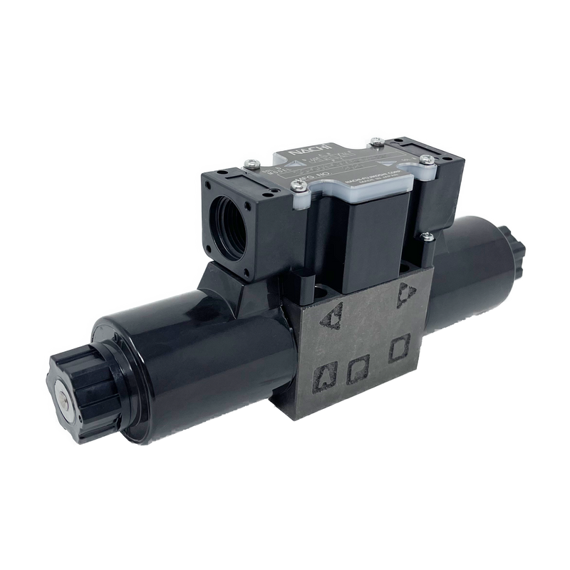 SS-G01-C7Y-R-D1-E31 : Nachi Solenoid Valve, 3P4W, D03 (NG6), 13.2GPM, 5075psi, P to T with A & B Blocked in Neutral, 12 VDC, Wiring Box with Lights