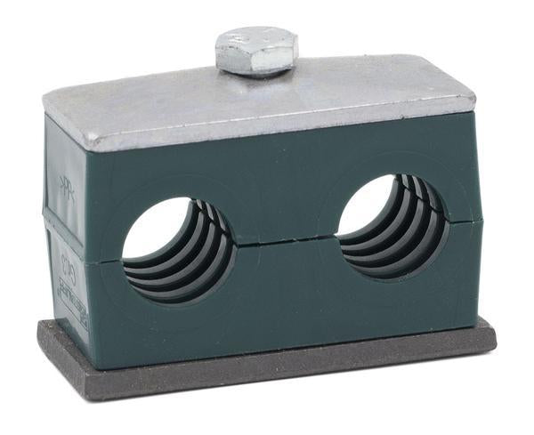 "SP-217.2/17.2-PP-GD-AS-U-W10 : Stauff Stauff Twin Clamp, Single Weld Plate, 0.677 inch (17.2mm) OD, for 3/8"" Pipe, Green Polypropylene, Profiled Interior, Carbon Steel"